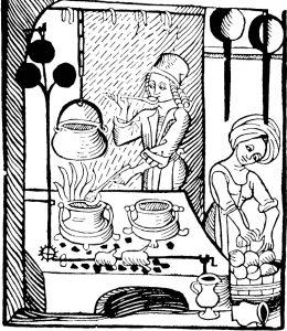 Medeltida träsnitt föreställande två personer som lagar mat